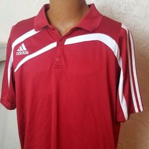 Adidas Mens Clima 365 Golf Polo Shirt Red Sz XL